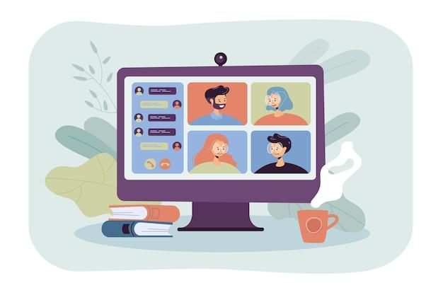 화상 회의 평면 그림을 통해 온라인으로 회의하는 사람들. 잠금 중 가상 집단 채팅에 동료의 만화 그룹 무료 벡터
