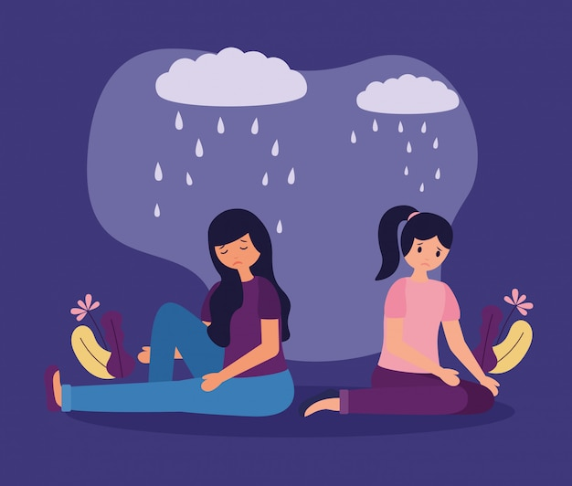 People mental disorder psychological depressed Free Vector