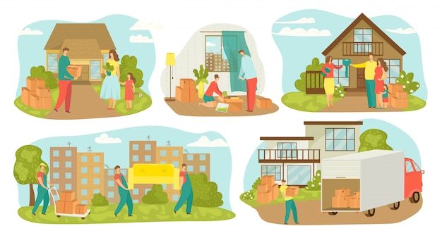 People moving house, new home relocation set of  illustrations. family movers with boxes, carrying furniture, containers. movement to new house with truck transportation, sell house. Premium Vector