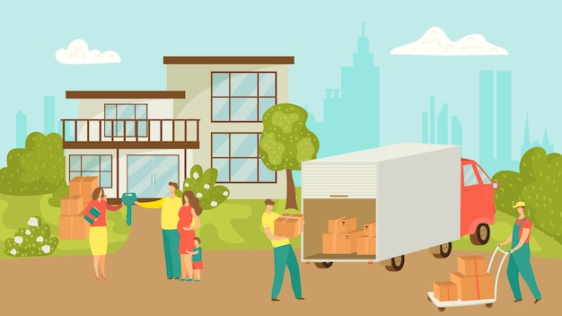 행복한 가족이 집을 이사하고 상자를 트럭으로 옮기는 사람들 프리미엄 벡터