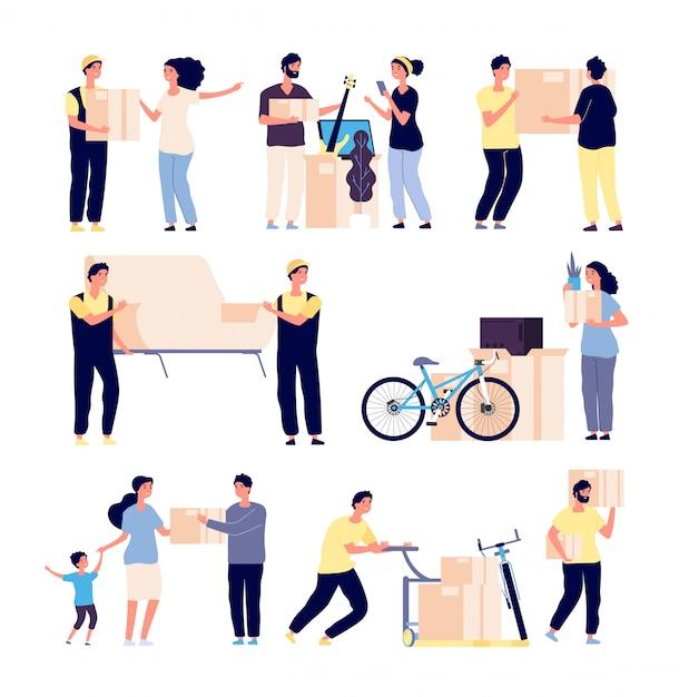 새 집을 이사하는 사람들. 가족은 로더로 새 집을 옮기고 상자에 물품을 수집합니다. 격리 된 벡터 문자 세트 프리미엄 벡터