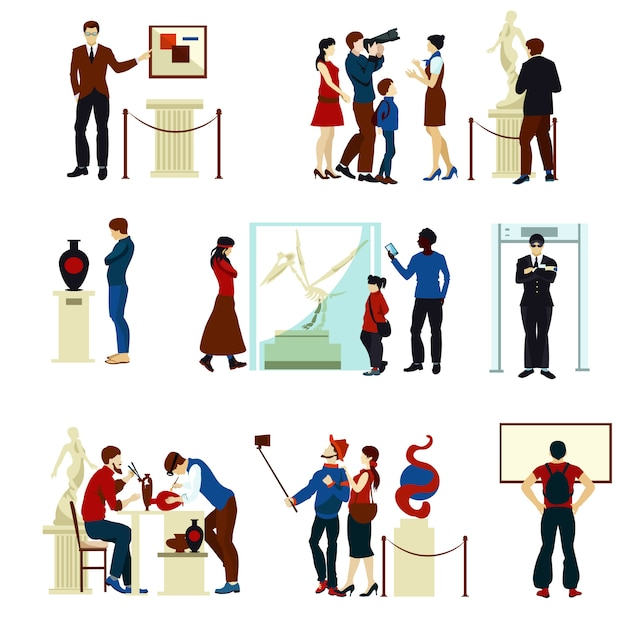 People in museum gallery color icons Free Vector
