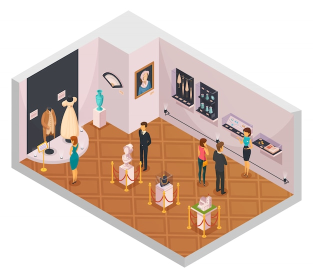 People in museum hall Free Vector