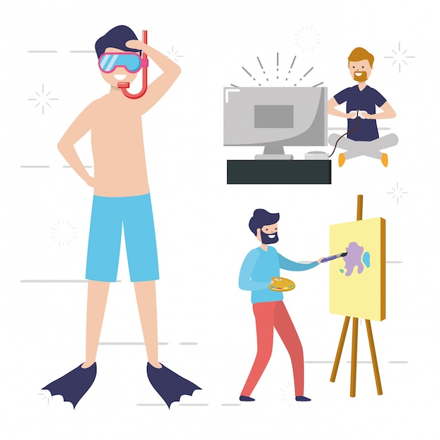 People my hobby people doing activities, swiming, painting, playing video games illustration Free Vector
