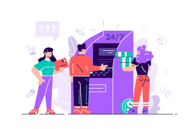 People near atm machine, female assistant helping clients Premium Vector