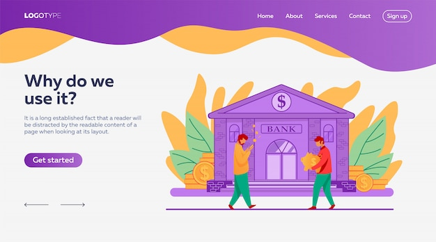 People near bank building landing page template Free Vector