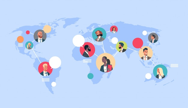 People network world map chat bubbles global communication Premium Vector