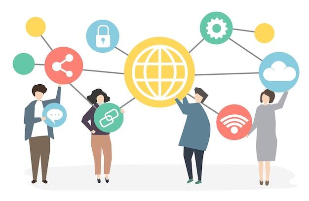 Persone in rete attraverso la tecnologia Vettore gratuito