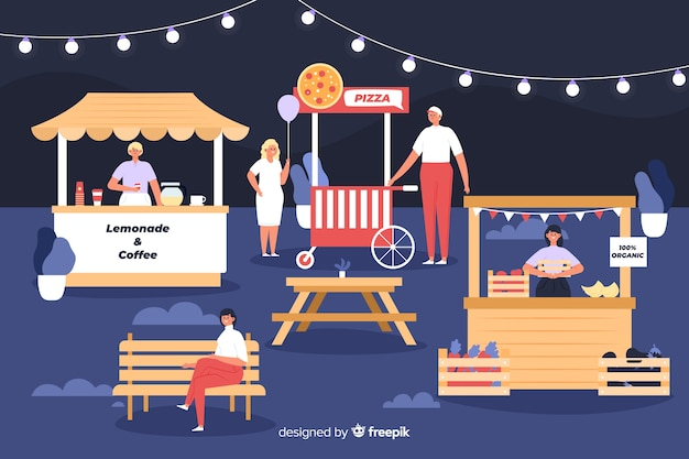 People at a night fair flat design Free Vector