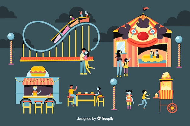 People at night fair with roller coaster Free Vector