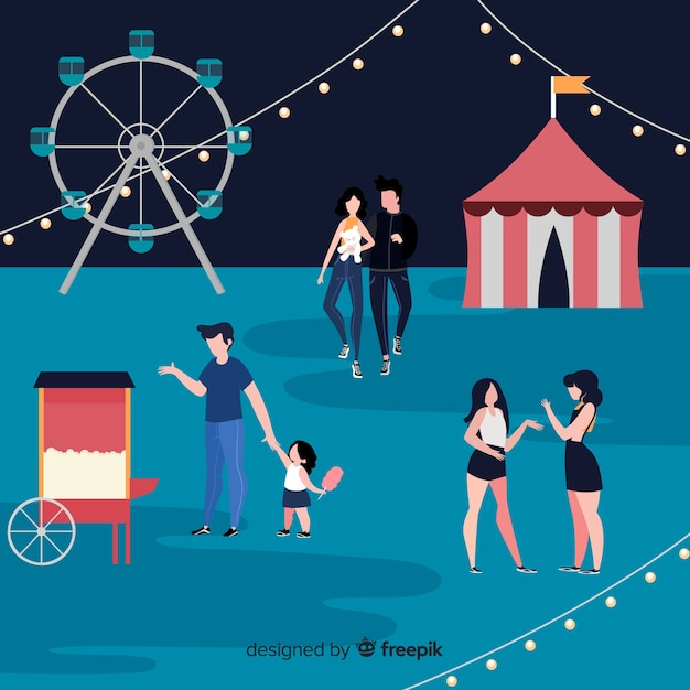 People at night fair with wheel ride Free Vector