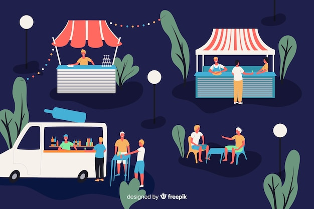 People at a night fair Free Vector