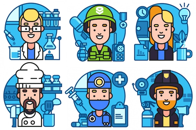 People occupation characters set in flat style Premium Vector