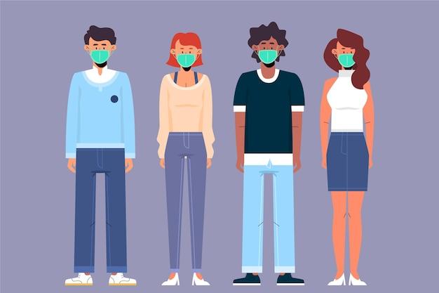 Люди всех национальностей в масках Бесплатные векторы