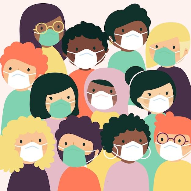 マスクを身に着けているすべての国籍の人々 無料ベクター