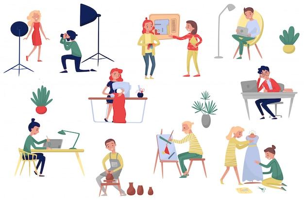 Люди разных художественных профессий. фотограф и модель, модный и интерьерный, фрилансеры и художники. набор Premium векторы