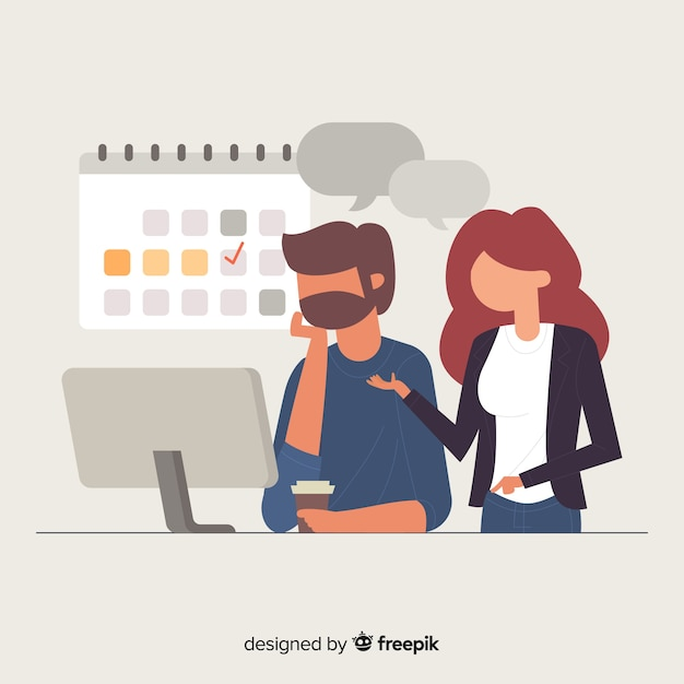People at the office background Free Vector