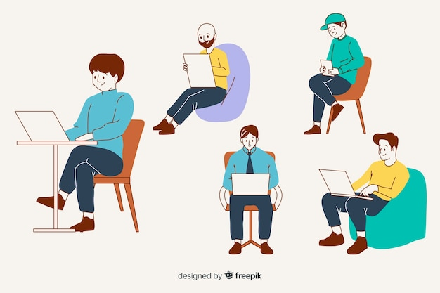 People at the office in korean drawing style Free Vector