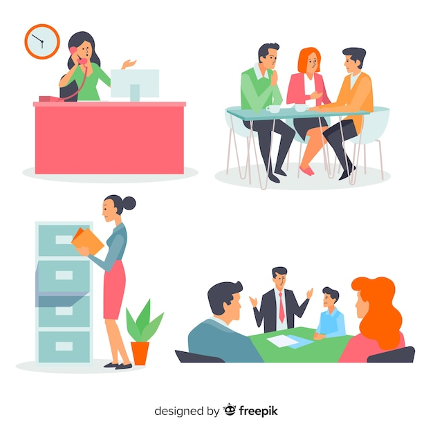 People at the office scene pack Free Vector