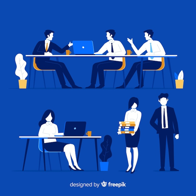 People at the office scenes set Free Vector
