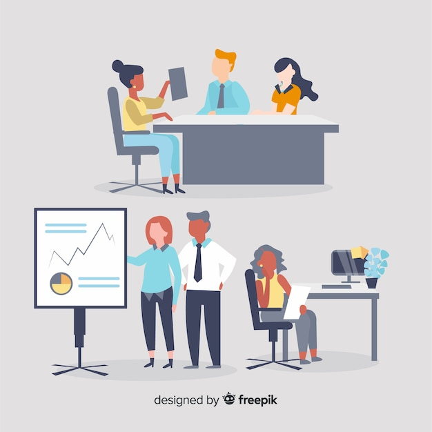People at the office Free Vector