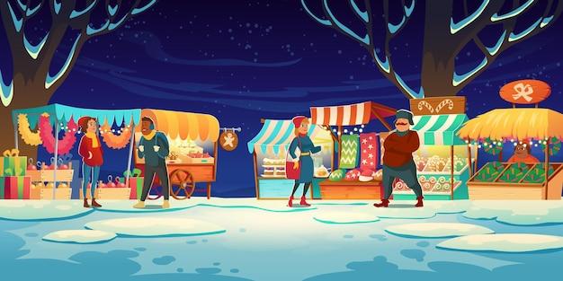 キャンディー、サンタの帽子、ケーキ、ジンジャーブレッドの露店があるクリスマスフェアの人々 無料ベクター