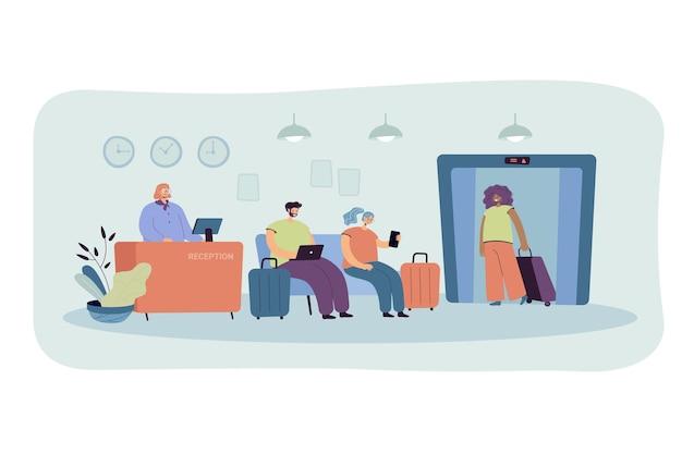 Люди на стойке регистрации отеля изолировали плоскую иллюстрацию. иллюстрации шаржа Бесплатные векторы