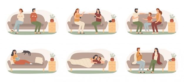 ソファの上の人々。ソファーで幸せな健康な大人、病気の家族、毛布セットの下で日光浴をしているソファーの人々 Premiumベクター