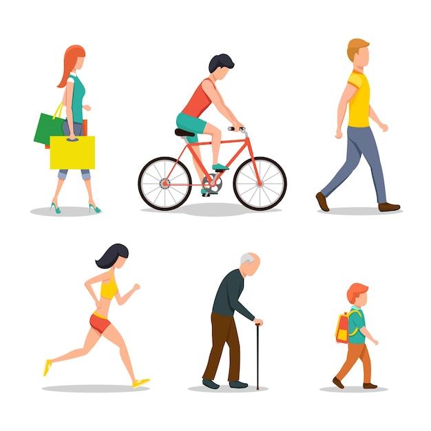 Люди на улице в плоском стиле Бесплатные векторы