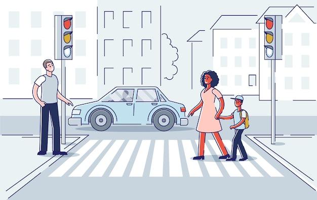 Люди на улице. пешеходный переход дороги на пешеходном переходе с уличными фонарями. Premium векторы