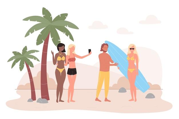 熱帯の海のビーチのイラストの人々。幸せな友達のキャラクターは、夏の海辺の熱帯地方で屋外で楽しい時間を過ごし、自撮り写真を撮り、コミュニケーションを取ります。夏のレジャー Premiumベクター
