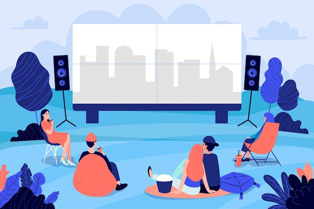 People at an open air cinema illustrated Free Vector