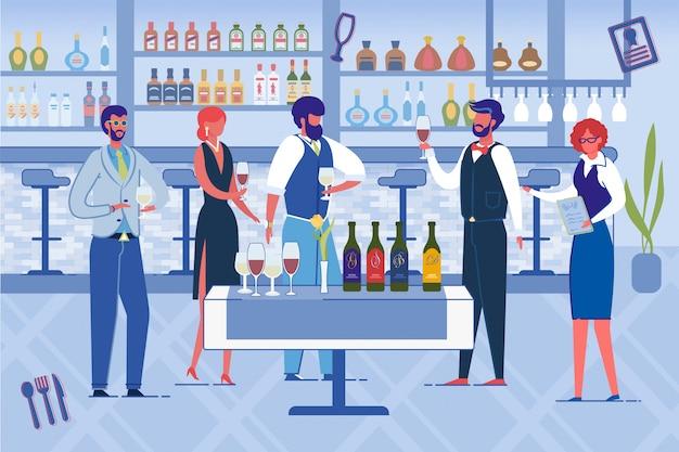Люди открывают новый ресторан, пьют вино. Premium векторы