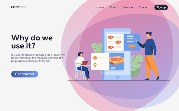 People ordering food in cafe and online Free Vector