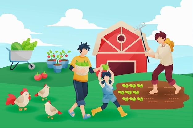 People organic farming concept Free Vector
