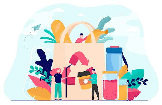 People packing organic food into eco bag Free Vector