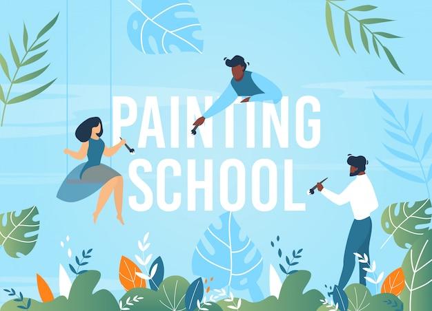 People painting school Premium Vector
