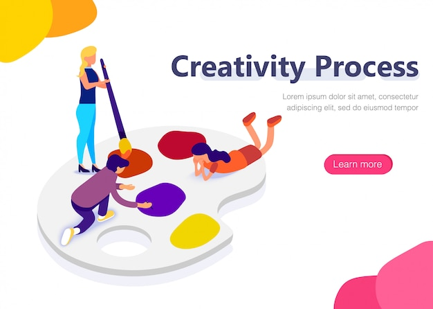 People on palette at design work. Premium Vector
