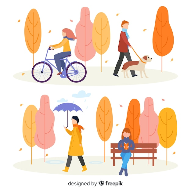 People in the park in autumn collection Free Vector