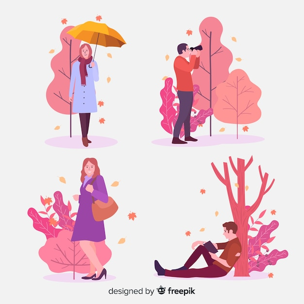 People in the park in autumn Free Vector