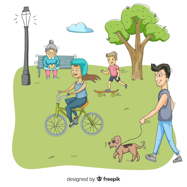 People in the park in a beautiful summer day Free Vector
