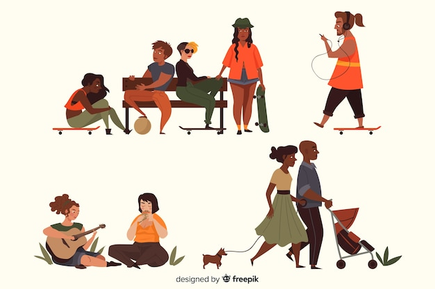 People at the park collection Free Vector