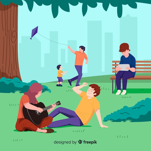 People in the park during their free time Free Vector