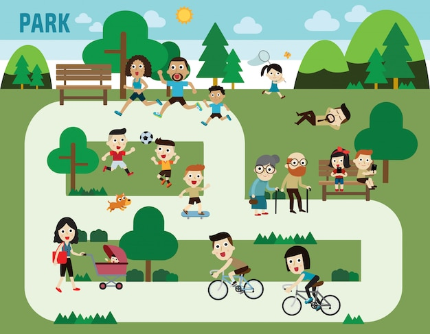 People in the park infographic elements Premium Vector