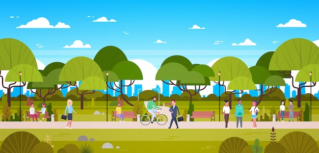 People in park relaxing in urban nature over city skyline walking riding bicycle and communicating Premium Vector