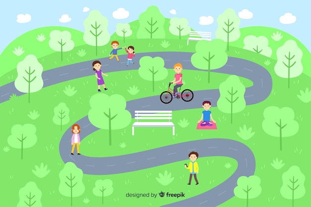 People in park with pathway Free Vector