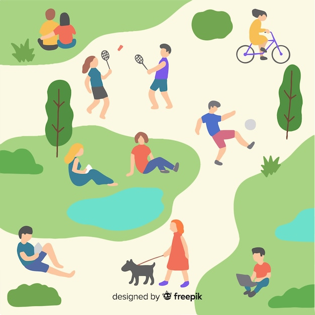 People in the park Free Vector