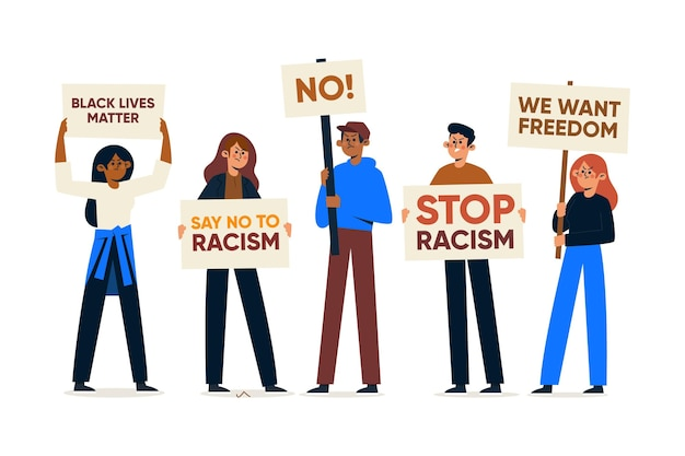 People participating at a protest against racism Free Vector