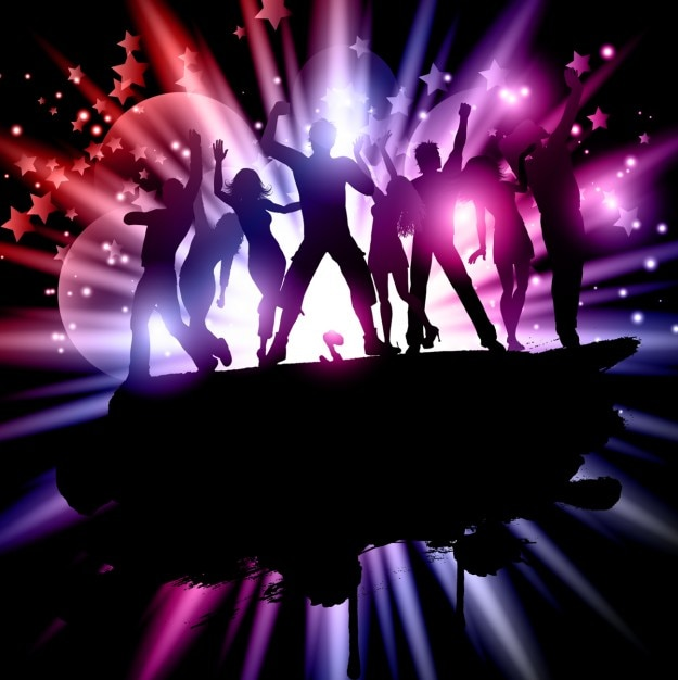 People party on a stage silhouette Free Vector