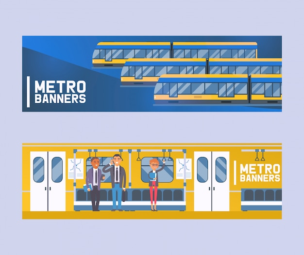 People passangers in subway car, modern city public transport, underground tram set of banners flat humans in metro, tube. Premium Vector